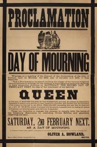 Plakat ogłaszający 2 luty 1901 Dniem Żałoby w Toronto (Kanada)
