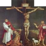 Obraz przedstawiajacy ukrzyżowanie Chrystusa autorstwa Mathisa Gotharta Grünewalda