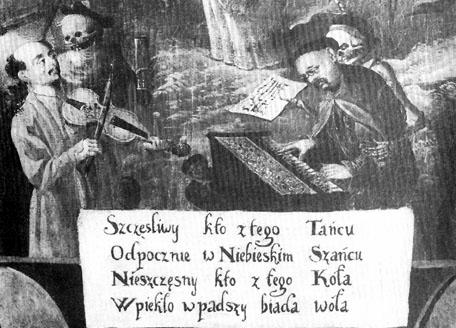 """Fragment """"Tańca Śmierci"""" z końca XVII w., malowidło ścienne z kościoła oo. bernardynów w Krakowie"""